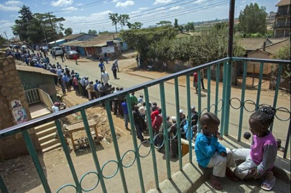 Line to vote at the Old Kibera Primary School on March 4, 2013 (Georgina Goodwin, AFP/Getty Images)